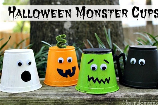 Halloween Crafts for Kids Monster Cups