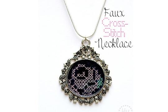 Faux cross-stitch necklace