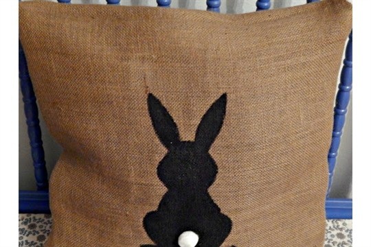 No Sew Burlap Easter Bunny Pillow