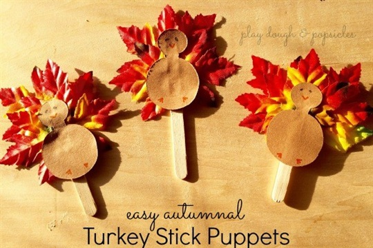 Incredibly Easy Autumnal Turkey Stick Puppets