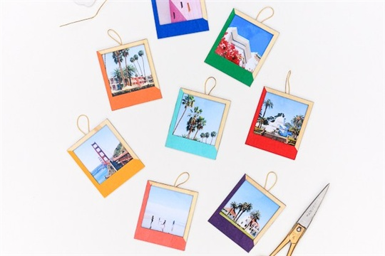 DIY Color Blocked Instagram Ornaments