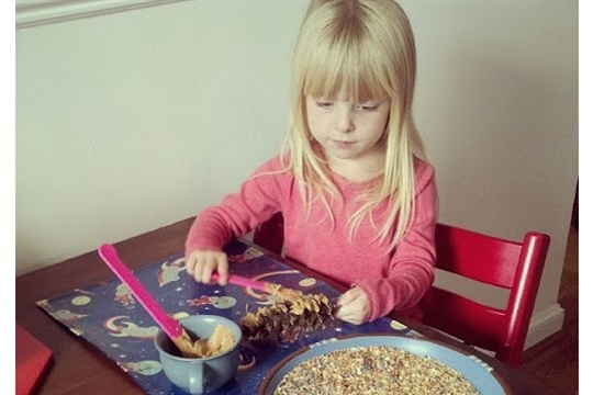 Kid Craft Pine Cone Bird Feeders (Squirrel Feeders, More Like) I KNOW HOW IS BABBY FORMED!