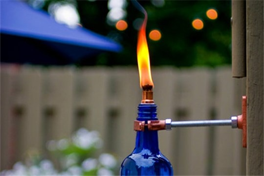 Diy project erik's recycled wine bottle torch