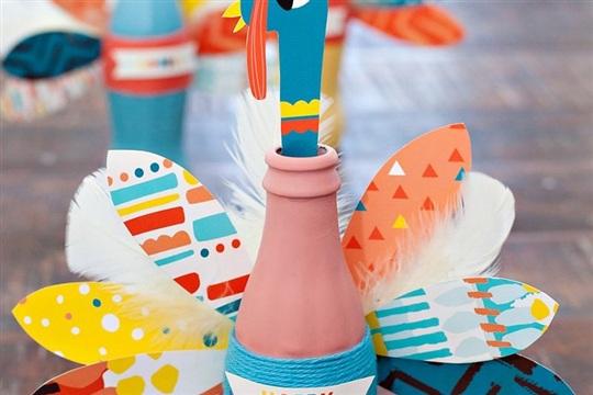 Thanksgiving Craft Colorful Coke Bottle Turkeys