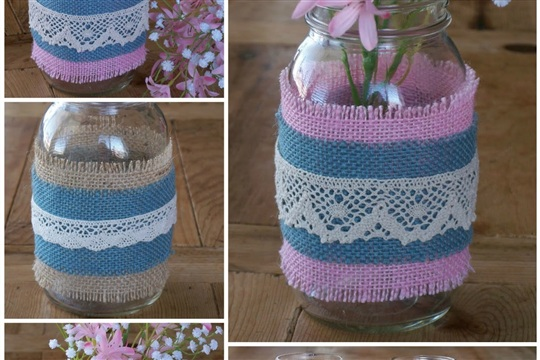 How to Make Burlap and Lace Mason Jars