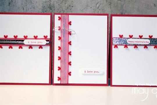 Valentine's Card Trio with May Arts and CardMaker Create It Simply with Tami Mayberry