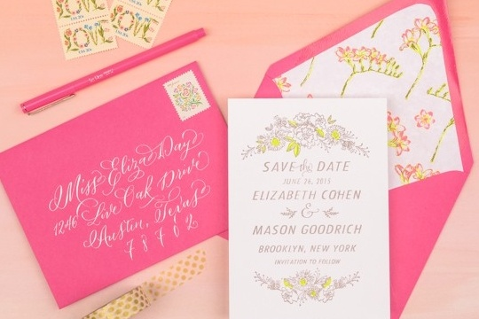 DIY tutorial: neon floral save the dates