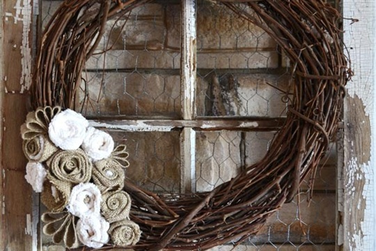 Grapevine & Burlap Fall Wreath