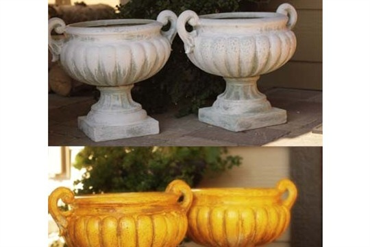 Using Planters for Pumpkin Holders Front Porch Fall Makeover