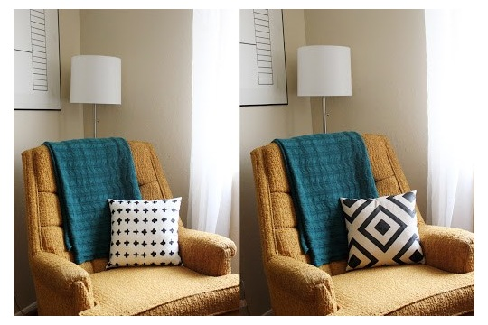 DIY Reversible Painted Throw Pillow