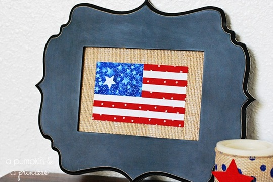 Burlap American Flag Frame