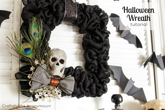 Burlap Halloween Wreath Tutorial + Halloween Mantel