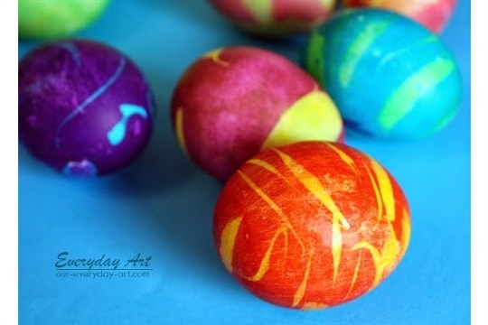 Everyday Art Double Dipped Rubber Cement Dyed Eggs