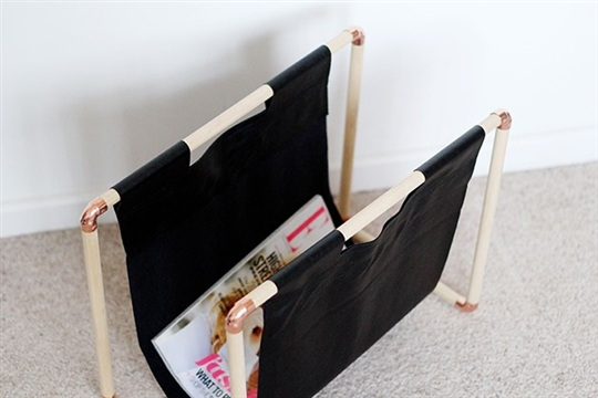 DIY Copper + Pine Magazine Rack