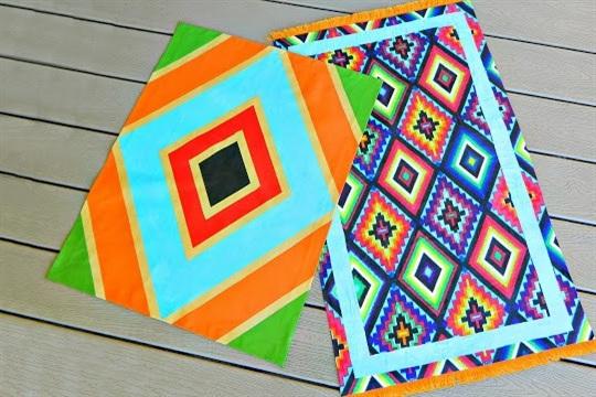 Painted Fabric Rug DIY