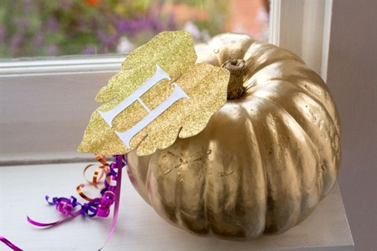 Gold and Glitter, An Easy No Carve Halloween Pumpkin Idea