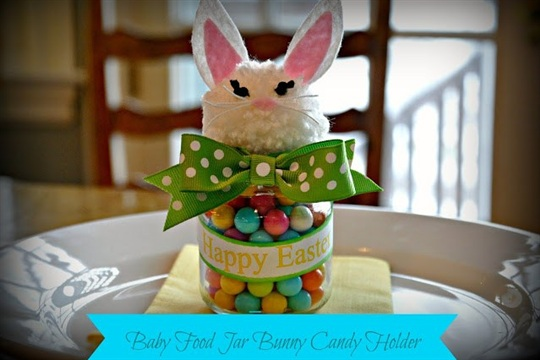 Serendipity Refined Blog Upcycled Baby Food Jar Easter Bunny Candy Holder