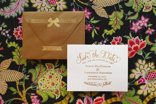 DIY Tutorial Gold Embossed Save the Dates