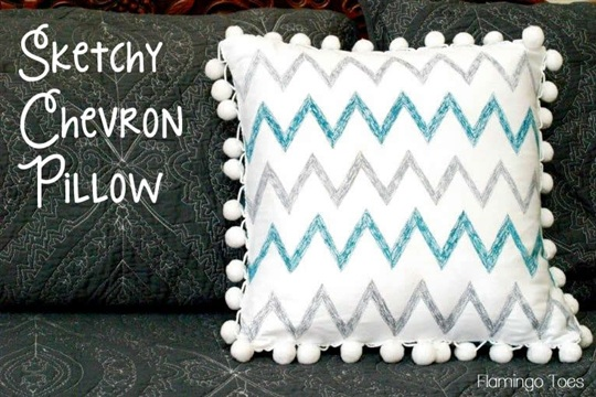Sketchy Chevron Pillow