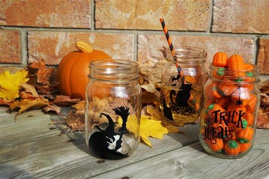 Halloween Themed Mason Jars