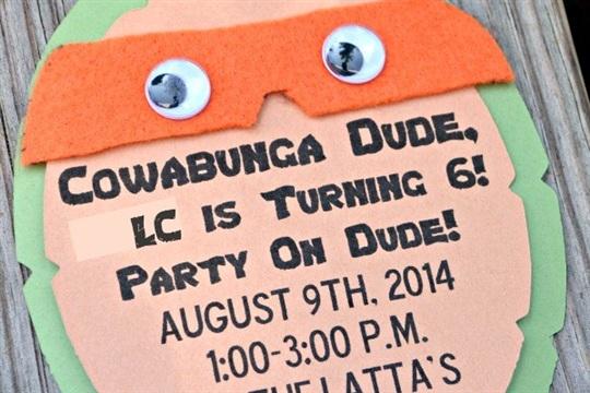 Teenage Mutant Ninja Turtle Party Invitations