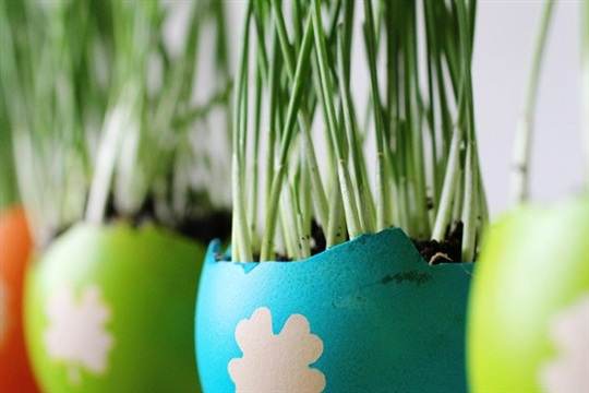 DIY Colorful Easter Egg Planters