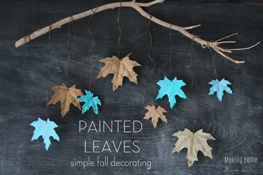 Fall Decorating Painted Leaves