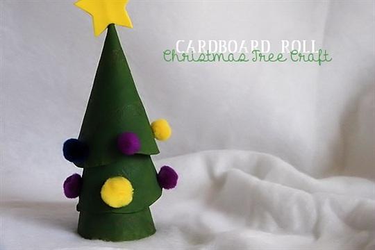 Stacking Cardboard Roll Christmas Tree Craft