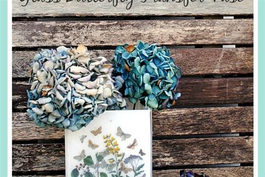 DIY Mother's Day Glass Butterfly Transfer Vase