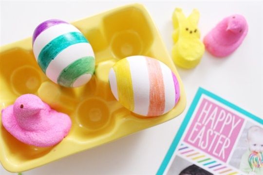 Multi Colored Striped Easter Egg DIY