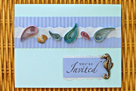 Under The Sea Quilled Paper Invitation