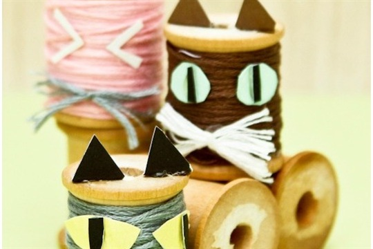 DIY Kitty Spool Craft Kids Halloween & Pet Parties!